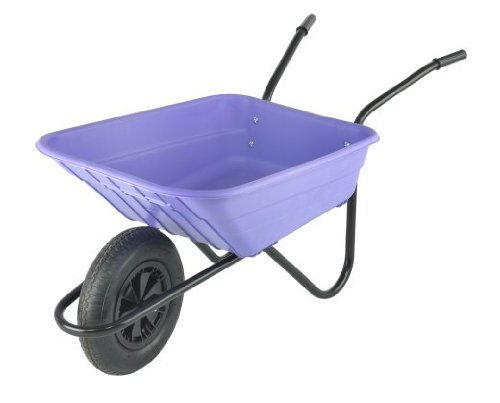 Walsall Wheelbarrows 90Ltr Shire Plastic Green Wheelbarrow Barrow in a Box, Lilac - Pneumatic Wheel by The Walsall Wheelbarrow Company