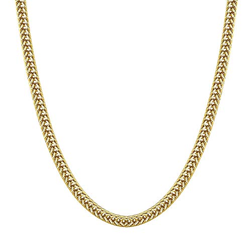 (KRKC&CO 3mm 14k Gold Franco Chain Plated Necklace Men Women Hip Hop Fashion Jewelry 20-24 inches (14K Gold, 22))