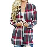 OldSch001 Women's Autumn CardiganPlaid Open Cape Casual Coat Loose Blouse Kimono Jacket(Gray,XL)