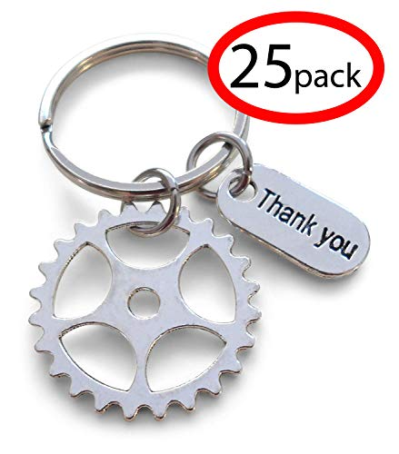 Gear Keychain Appreciation Gift - Thanks for Being an Essential Part of Our Team (Set of 25)