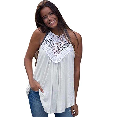 DBardeurs Blanc Sans Blouse Volant T Angelof Fluide Gilet Top Femmes Fille Manches Bretelles Dentelle Loose t Shirt Dentelle Creux RwqdHwFn