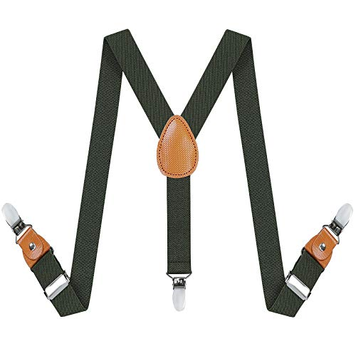Toddlers Kids Boys Mens Suspenders - Y Back Adjustable Strong Clips Synthetic Leather Suspenders (23.6 Inch (7 Months - 3 Years), Army green) ()