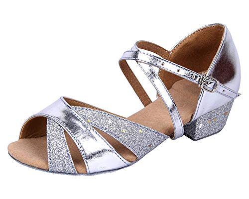 staychicfashion Girls Soft-Soled Glittering Latin Ballroom Dance Shoes with Leather Strap(1.5, Silver)