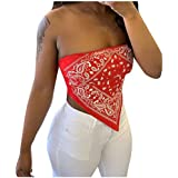 DealinM Women's Wrapped Tops Summer Fashion Printed Off Shoulder Shirt Sleeveless Irregular Bandeau Crop Top