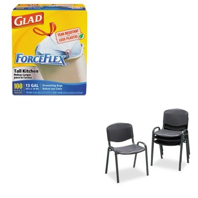 KITCOX70427SAF4185BL - Value Kit - Safco Contour Stacking Chairs (SAF4185BL) and Glad ForceFlex Tall-Kitchen Drawstring Bags (COX70427) by Safco