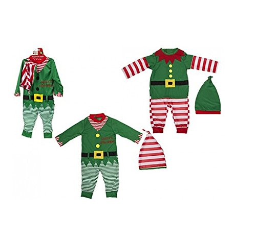 Toddler / Baby Christmas Elf Outfit. Romper and Hat. 2 Designs (9-12 Months, Red Striped)