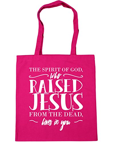 Shopping in you Tote x38cm Gym Beach 42cm raised God Fuchsia 10 lives spirit HippoWarehouse Bag the from dead Jesus The who of litres Px7nwq6AO