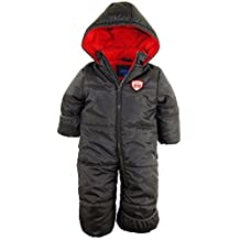iXtreme Baby Boys Little Expedition Car One Piece Snowsuit Pram Puffer Winter Jacket Coat , Charcoal, 12 Months