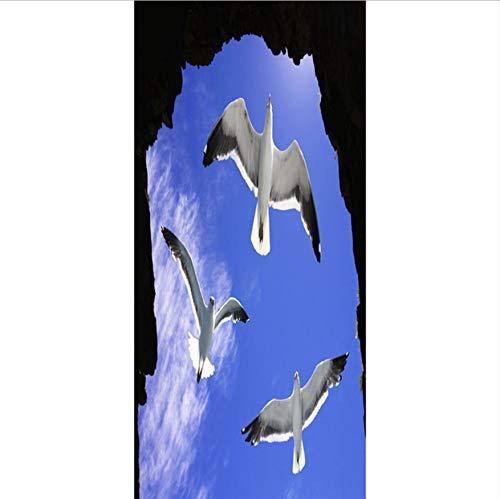 Drei Vögel In Fliegender Tür Tür Tür Aufkleber Tür Aufkleber Abziehbilder Home Decoration-90X200CM B07PHTZR8R Wandtattoos & Wandbilder 4c03c2