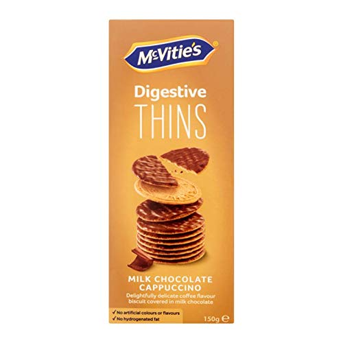 Thin Wheat Chocolate Cappuccino Cookies | McVitie's | Digestive Thins Milk Chocolate Cappuccino | Total Weight 5.29 ounce