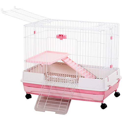 PawHut Indoor Small Animal Habitat Cage with Wheels, Perfect for Hamsters, Gerbils, and Exotic Rodents, Pink, 32″ L
