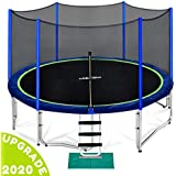 Zupapa 12 14 15FT Trampoline for Kids with Safety Enclosure Net 375 LBS Weight Capacity Outdoor Yard Trampolines with Non-Slip Ladder Rain Cover