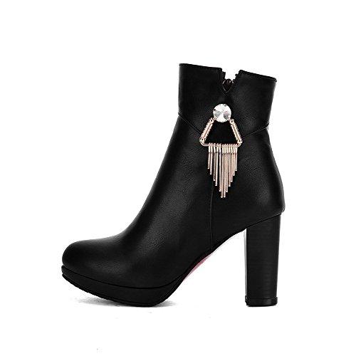AllhqFashion Mujeres Tacón ancho Sólido Cremallera Caña Baja Botas con Colgantes Negro