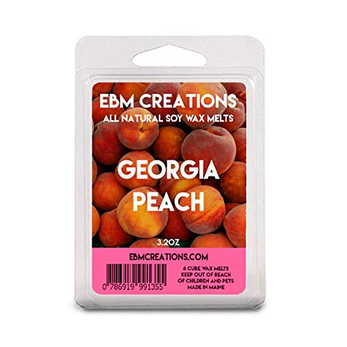 Georgia Peach - Scented All Natural Soy Wax Melts - 6 Cube Clamshell 3.2oz Highly Scented!