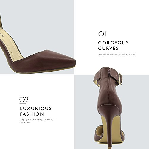 Toe Evening Brown Sandal Ankle Dress PU High Shoes Heel Women's Casual Party DailyShoes Strap Buckle Pointed wISBUnxgq