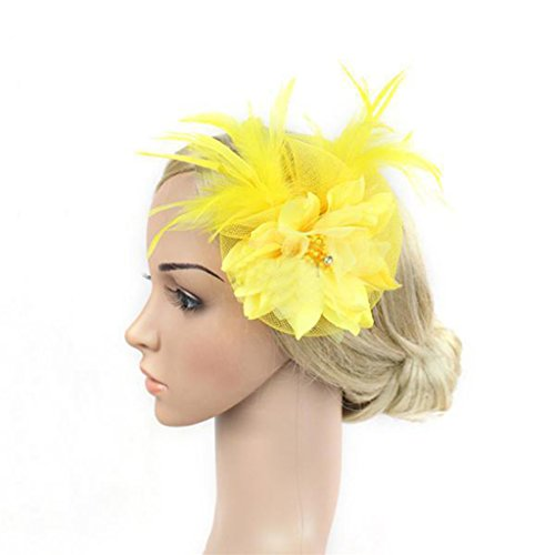 Yellow Feather Light (Catnew Fashion Women Girl Feather Fascinator Floral Veil Hairband Bridal Headwear Hair Accessory Party Stage (Yellow))