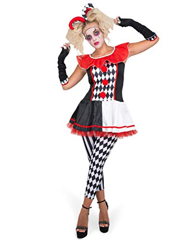 Female Jester Costume Set - Halloween Womens Carnival Harlequin Dress, X-Large