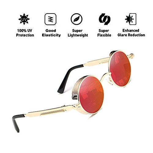 de protección de reflectante marco gafas lente gran gafas hombres ATNKE retro HD tamaño Vintage sol metal redondas UV400 de para mujeres T6 góticas Steampunk con de S5gxAUw5