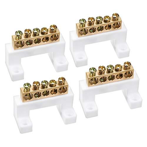 uxcell ターミナルブロックコネクタバー100A複列銅ネジブリッジ形状アース線5ポジション4個