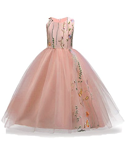 Little Big Girls Kids Children Clothing Special Occasion Tops for Wedding Pargeant Birthday Party Sleeveless Summer Sundress Girl Ball Gown Size 7 8 Lace Embroidery Fancy Cocktail (Pink, 140) ()