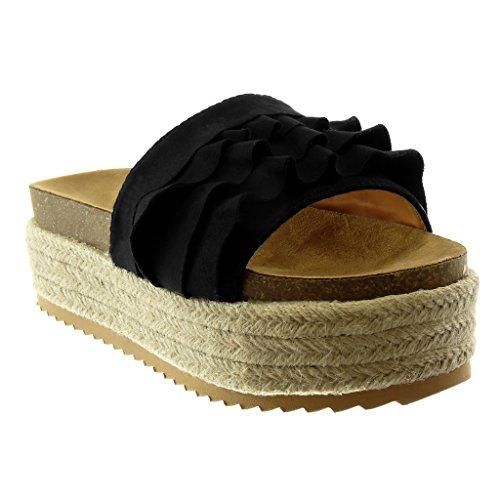 Angkorly Women's Fashion Shoes Espadrilles Mules - Slip-on - Platform - Ruffle - Cork - Cord Wedge Platform 6 cm Black Cf4qf
