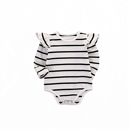 (GSHOOTS Baby Girls' Clothes Long Butterfly Sleeve Ruffled Bodysuit Fly Sleeve Romper (70 / 0-6 Months, Striped White))