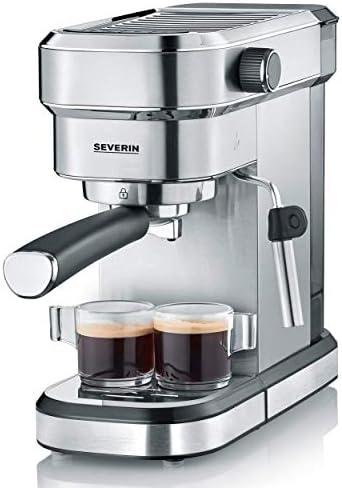 Severin KA 5994 Macchina Espresso Espresa, per 1 o 2 Tazze, Adatta per cialde ESE e caffè macinato, Pronta in 40 Secondi, Pressione 15 Bar, 1350 W, Acciaio Inox, Nero Opaco