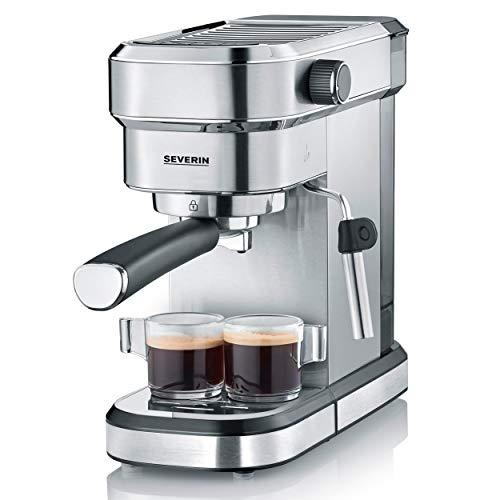 Severin KA 5994 Espresa – Cafetera espresso, 1350 W, 1.1 L, acero inoxidable cepillado, función descalcificación, color…