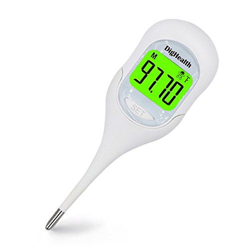 DigHealth Digital Basal Thermometer for Ovulation, Basal Body Temperature (BBT) Thermometer with Big LCD and 3 Colors Back Light, Oral Thermometer with 2 Decimal 9 Data Logger, Smart Probe Waterproof