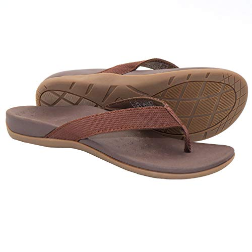 IRSOE Plantar Fasciitis Sandal Flip Flops with Arch Support Women's Orthotic Sandals - Summer Essential Sandal Outdoor & Indoor- Brown 7US/38EU