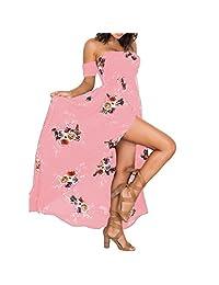 Shinekoo Women Floral Deep V Neck Long Maxi Bell Sleeve Beach Party Dress Boho