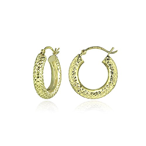 14K Gold Diamond-cut 4x20mm Lightweight Small Round Hoop Earrings by Hoops & Loops