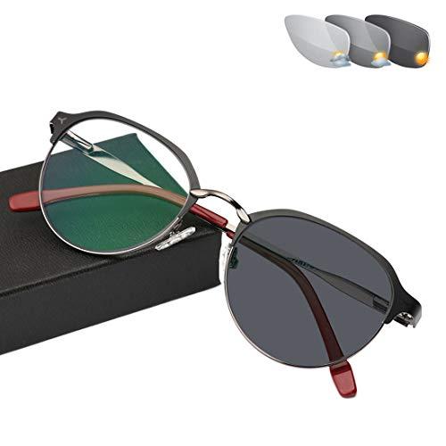Progressive Multi-Focus Reading Glasses,Far and Near Dual-use Discoloration Zoom Ultralight Reading Glasses,Anti-Blue Light Anti-Radiation Resin Lenses,Unisex,Black+Gray,250