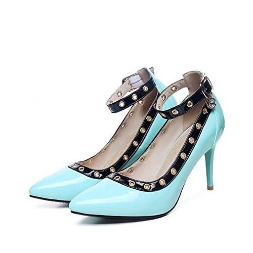 Heel Blue Stiletto Black ZHZNVX Pump de Poliuretano Green Basic Spring Blue Zapatos Heels Mujer PU aawHnzxvq1