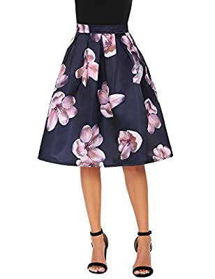 Shine Women's Floral Printed Peach Blossom A-line Prom Midi Pleated Skirt