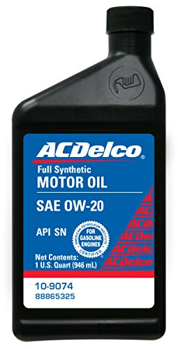 acdelco 10 9074 0w 20 synthetic motor oil 1 qt top