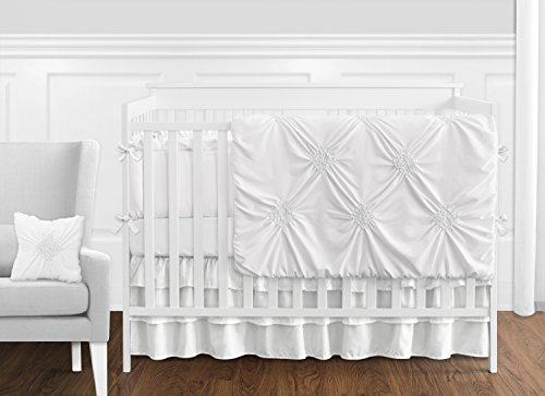 Solid Color White Shabby Chic Harper Baby Girl Crib Bedding Set with Bumper by Sweet Jojo Designs - 9 pieces (Crib Vintage Baby Sets Bedding)