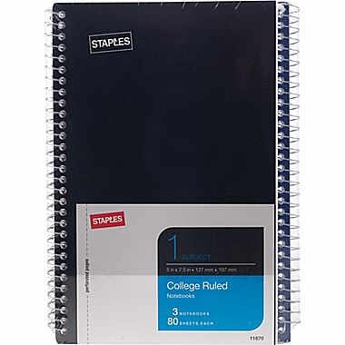 """Staples 1 Subject Notebook, 7-3/4"""" x 5"""", 3/Pack"""