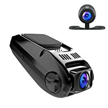 APEMAN Dual Dash Cam Car Video Recorder 1080P Full HD Car Camera 170° Wide Angle with Loop Recording, Motion Detection, WDR and G-Sensor, Support External GPS Module