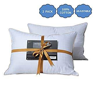 Lofe Bed Pillows for Sleeping (2-Pack) - Adjustable Down Alternative Pillow, Standard Size, 100% Cotton Cover, Super Soft Plush Fiber Fill, Relieve Neck Pain, Perfect for Side and Back Sleepers