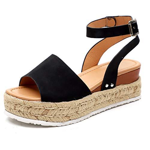 (Xiakolaka Womenss Platform Sandals Open Toe Espadrille Ankle Strap Buckle Shoes Black 38)