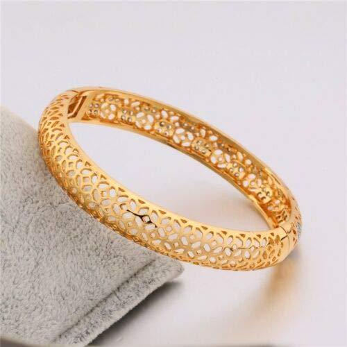 FidgetGear White Topaz Charming Vogue Bangle Lady Hollow 18K Multi-Tone Gold Bracelet
