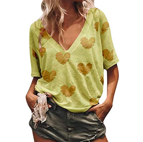 (〓COOlCCI〓Women Summer Casual V-Neck Heart Print Blouse Tie Knot Short Sleeve Tops Loose Fitting Bat Wing Shirts Yellow)