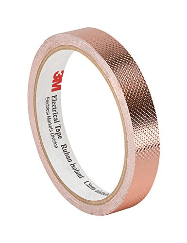 (3M 1245 Embossed Copper Foil Tape - 1 in. x 54 ft. Pressure-Sensitive Acrylic Adhesive Roll for Grounding, EMI Shielding)