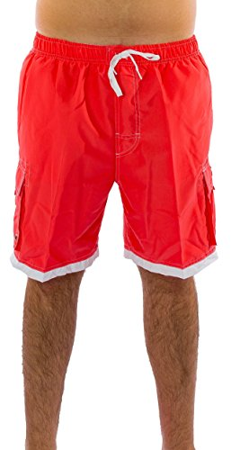 Exist Classic Men's Swim Trunks (Large, Coral/White)