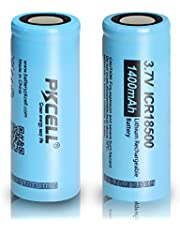ICR18500 Rechargeable Li-ion Battery 1400mAh 3.7V 18500 Battery For LED Torch Falshlight 2pcs