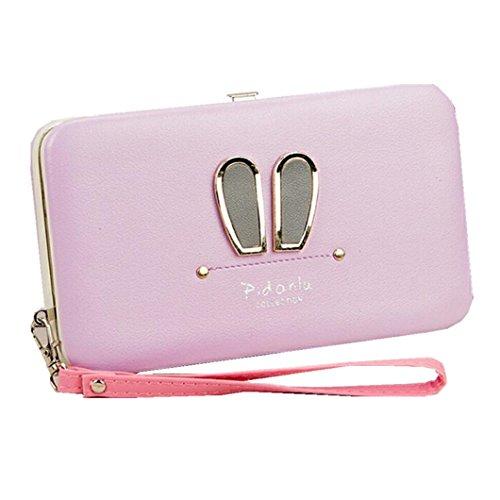 Soft Leather Wristlet Clutch Wallet Cute Rabbit Ears Business Phone Case Hard Frame Money Clip Travel Card Holders Women`s Long Wallet Purse (Light Purple)
