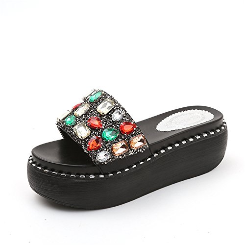 Embellished Platform - SUNNY Store Women's Open Toe Jeweled Rhinestone Embellished Slide Low Wedge Platform Sandal Slippers(Black-37/6.5 B(M) US Women)