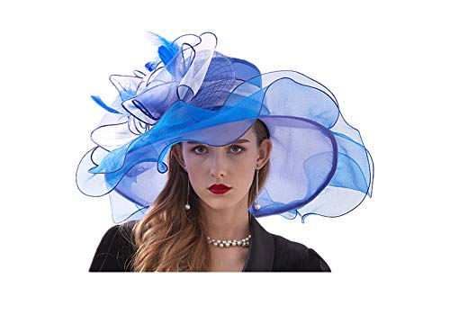 Women's Church Kentucky Derby Cap Feather Veil Fascinator Hat Tea Party Wedding Sun Hat (#3 Blue) -