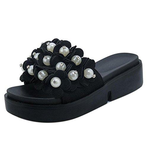 TAOFFEN Women's Slip On Sliders Mules Shoes Black MLwvAJ